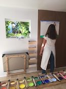 cet atelier se déroule dans une pièce spécialement conçue pour que chacun se sente dans un climat de sérénité propice à la naissance et à l'expression du Je – en peinture.